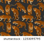 seamless pattern with a... | Shutterstock .eps vector #1253095795
