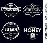 vector honey vintage logo and... | Shutterstock .eps vector #1253104348