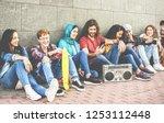 group of millennials friends... | Shutterstock . vector #1253112448
