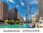 chicago downtown and chicago... | Shutterstock . vector #1253113555