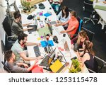 young co workers team talking... | Shutterstock . vector #1253115478