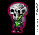 psychedelic funny skeleton with ... | Shutterstock . vector #1253142205