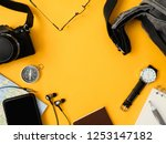 top view travel concept with... | Shutterstock . vector #1253147182