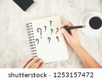 woman hand question mark  on... | Shutterstock . vector #1253157472