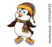 penguin hand drawing  cartoon... | Shutterstock .eps vector #1253160535