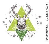 vector image of a deer head.... | Shutterstock .eps vector #1253167675