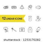 universal icons set with bag ...