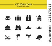 sunny icons set with ship  vest ...