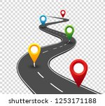 road infographics. winding road ... | Shutterstock .eps vector #1253171188