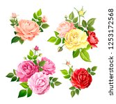 set of beautiful bouquets... | Shutterstock .eps vector #1253172568
