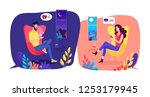 relationship at a long distance ... | Shutterstock .eps vector #1253179945