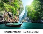 Long Boat And Rocks On Railay...