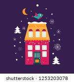 christmas greeting card with... | Shutterstock .eps vector #1253203078
