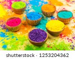 colorful indian powder paints... | Shutterstock . vector #1253204362