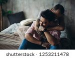 happy gay couple embraced ... | Shutterstock . vector #1253211478