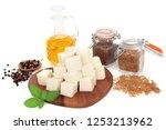 vegan health food with tofu... | Shutterstock . vector #1253213962