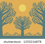 silhouette of a trees. sign or... | Shutterstock .eps vector #1253216878