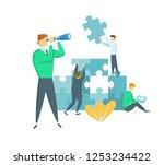 businessman with a spyglass... | Shutterstock .eps vector #1253234422
