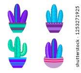cacti set  succulents  home... | Shutterstock .eps vector #1253271925