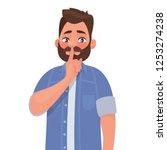 shh  gesture is quieter. the... | Shutterstock .eps vector #1253274238