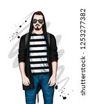 handsome guy in stylish clothes ...   Shutterstock .eps vector #1253277382