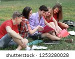 group of college students... | Shutterstock . vector #1253280028