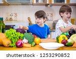 healthy eating. happy children... | Shutterstock . vector #1253290852