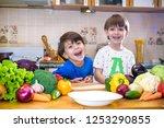 healthy eating. happy children... | Shutterstock . vector #1253290855