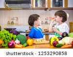 healthy eating. happy children... | Shutterstock . vector #1253290858