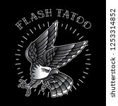 eagle flash tattoo is simple ... | Shutterstock .eps vector #1253314852