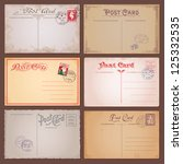 vector set of vintage postcards ... | Shutterstock .eps vector #125332535