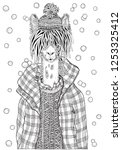 winter llama in a checkered... | Shutterstock .eps vector #1253325412