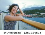 cruise ship vacation woman... | Shutterstock . vector #1253334535
