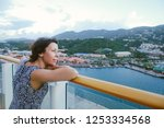 cruise ship vacation woman... | Shutterstock . vector #1253334568