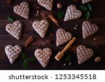 gingerbread hearts with spices  ... | Shutterstock . vector #1253345518
