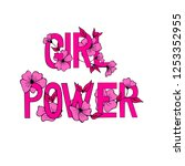 girl power feminist slogan.... | Shutterstock .eps vector #1253352955