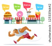 funny cartoon food and drinks...   Shutterstock .eps vector #1253356642