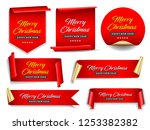 christmas banners set. ribbons... | Shutterstock .eps vector #1253382382