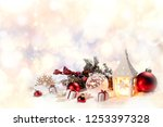 christmas holidays card with... | Shutterstock . vector #1253397328