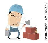 funny cartoon mason clipart | Shutterstock .eps vector #1253402578