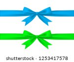 blue and green gift ribbon with ... | Shutterstock .eps vector #1253417578