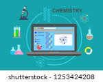 chemistry. chemical experiment... | Shutterstock . vector #1253424208