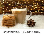 glass cup of cappuccino coffee... | Shutterstock . vector #1253445082
