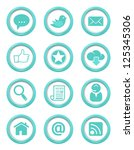 communication buttons blue set | Shutterstock .eps vector #125345306