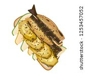 appetizing sandwich with sprats ... | Shutterstock .eps vector #1253457052