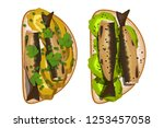 sandwich with sprats  pickles ... | Shutterstock .eps vector #1253457058