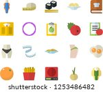 color flat icon set weighing...
