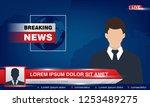 tv breaking news studio with... | Shutterstock .eps vector #1253489275