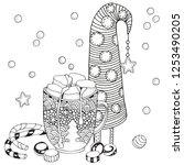 christmas mug with hot... | Shutterstock .eps vector #1253490205