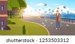senior man feeding flock of... | Shutterstock .eps vector #1253503312